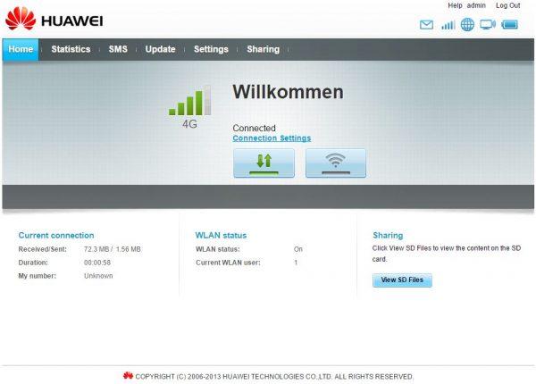 Huawei-Schreenshot-Webinterface
